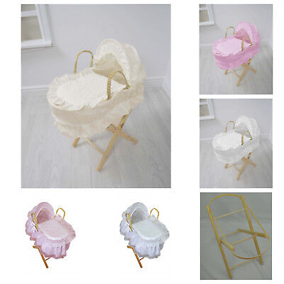 Dolls Moses Basket Cuddles Collection Toy Pink White Cream Sparkle Stand Baby