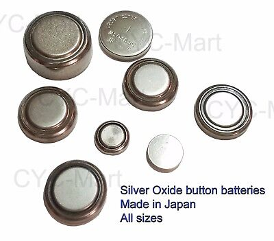 Silver Oxide coin batteries 371 377 395 and all sizes, Japan made FREE POST