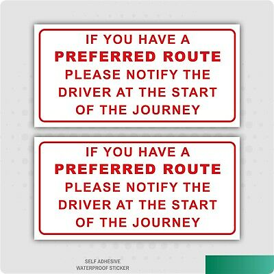 2 X Preferred Route Stickers Car Van Lorry Taxi Hgv