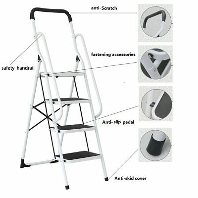 3/4 Step Ladder With SAFETY HANDRAIL Anti-Slip Rubber Mat Tread Steel Foldable