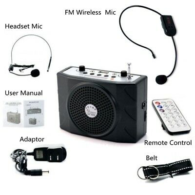 Updated 25W Voice Booster Amplifier + Remote Control + FM Wireless Microphone