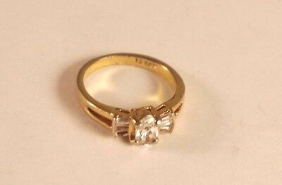 Vintage White Crystal Band Gold tone Ring size 5