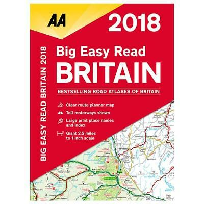 AA 2018 Big Easy Read Atlas Map Britain Spiral Bound A3 Size Giant Scale (78534)