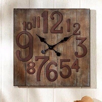 Rustic Vintage Reclaimed Wooden Look Country Wall Clock Farmhouse Home Decor NEW