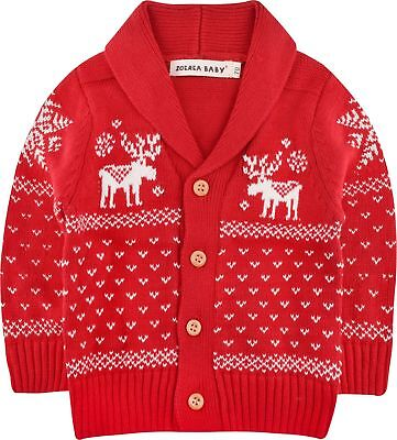 Deer Christmas Cardigan Sweater Winter Unisex Button Up Cotton Coat Toddler 3-4T