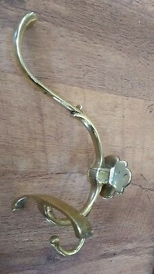 RECLAIMED VINTAGE FRENCH BRASS HOOK, LARGE 220mm HIGH