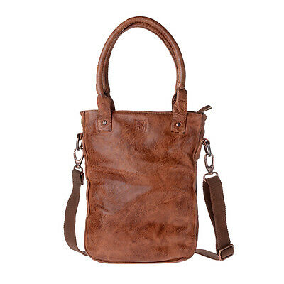 DuDu Borsa donna shopper in pelle lavata Onyx Brown tinta in capo con tracolla