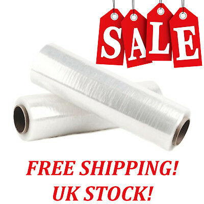 2 x STRONG ROLL CLEAR PALLET STRETCH SHRINK WRAP CAST PACKING PARCEL CLING FILM