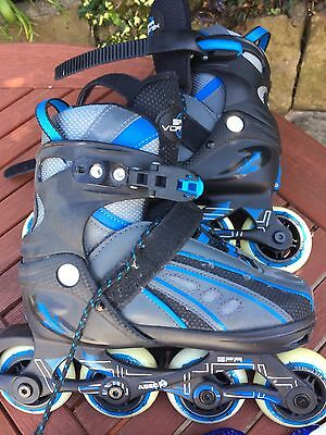 New SFR Vortex Blue Adjustable Inline Skates. Size 12-2. With Arm And Knee Pads.