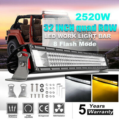 """CREE 720W 32INCH Curved LED Work LIGHT BAR Offroad Truck SUV 34"""" vs Tri Row 52"""""""