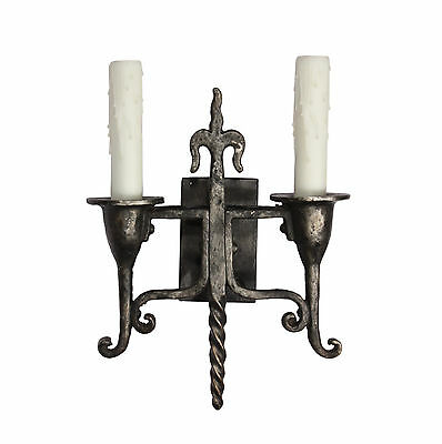Antique Two-Arm Tudor Sconces  with Fleur-De-Lis, c.1930, 1 Available, NSP1119