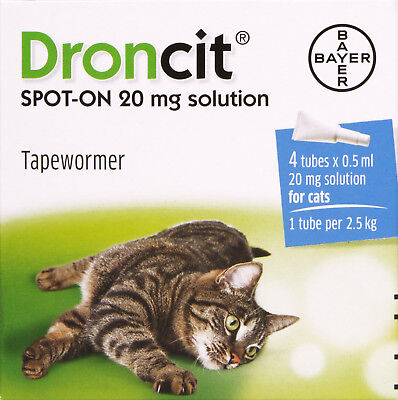 DRONCIT SPOT-ON 20mg solution - Tapewormer for Cats (4 Tube Pack) - BEST PRICE!!