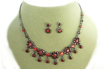 Red crystal necklace set daisy rhinestone prom party bridal bridesmaid sparkly