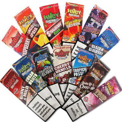 25 Packs Juicy Jays Flavored Double Blunt Wraps Cigar Rolling Paper 50 Total