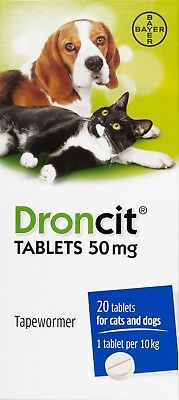 DRONCIT TABLETS 50mg - Tapewormer for Cats & Dogs 1,5,10 or 20 - BEST PRICE!!