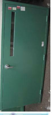 Green Metal Fire Rated Lab Commercial 3 ft Single Door w/ Sub-Frame & Window