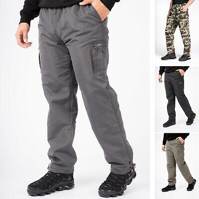 Mens Fleece Trousers Mens Pants Winter Bottoms Cargo Joggers Elasticated Thermal