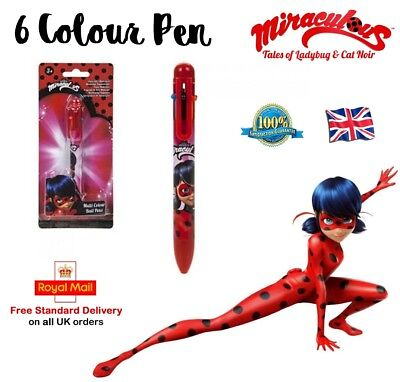 6 COLOUR MIRACULOUS LADY BUG PEN Multi Coloured Ball Point Pen Girls Toy Gift