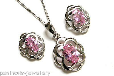 9ct White Gold Pink CZ Celtic Pendant and Earring Set Gift Boxed Made in UK