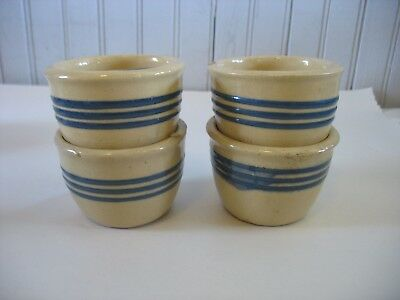 Set 4 PRIMITIVE STONEWARE YELLOW WARE CUSTARD CUPS w BLUE STRIPES 2 1/4""