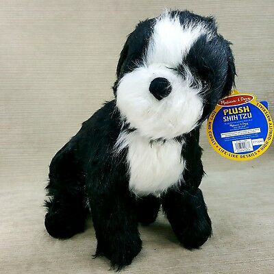 "Shih Tzu Plush Stuffed Lg 18"" Sitting Puppy Dog Melissa & Doug #4863 Black White"