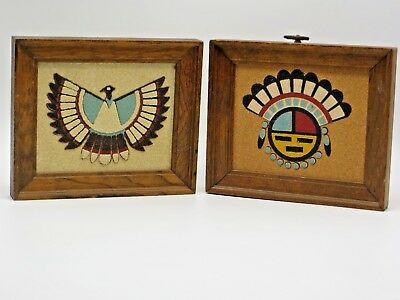 "2 VTG Framed Native American Sand Painting Art by ""Rainbow Way""  6""x7"" ea"