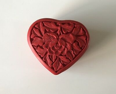 Chinese Handmade Carved Lacquerware Jewelry Box, Red Heart Shaped