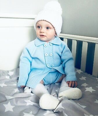 Spanish Traditional Baby Boys Knitted Cardigan & Shorts Set Baby Blue 9m - 2yrs