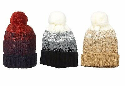 RAMPAGE Women's Chunky Color Block Pom Knit Beanie - One size Fits Most