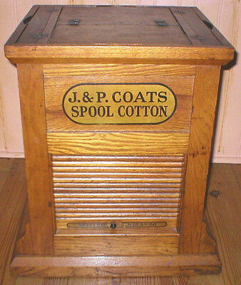 Antique J&P COATS SPOOL CABINET OAK Store Display Case Vintage PICK UP ONLY