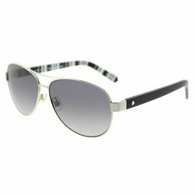 f3b770373b Kate Spade Dalia2 P 79D Silver Black Aviator Sunglasses Grey Polarized Lens
