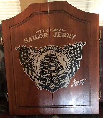 Sailor Jerry Spiced Rum New Wooden Dart Board Cabinet Whiskey Beer Sign