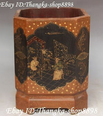 Old Chinese Wood Lacquerware Ancient People Man Pen Holder Pencil Vase Brush Pot