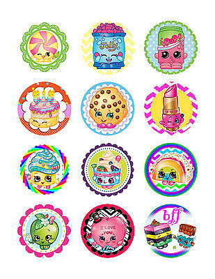 Shopkins Cupcake Toppers X 12 Per Sheet Edible Real Icing Party Decoration Image