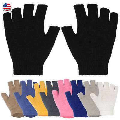 Unisex Solid Basic Fingerless Knitted Gloves Solid Color