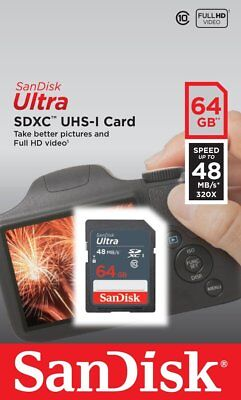 SanDisk Ultra 64 GB SDXC SDHC SD Class 10 48MB/s 320x UHS-I HD Flash Memory Card