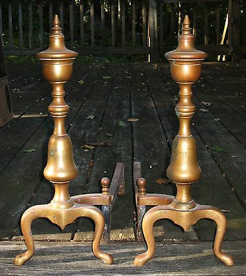 Antique 18th Century Federal Pair Brass Urn Top Fireplace Andirons