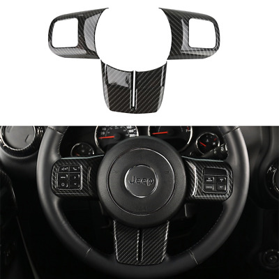 Carbon Fibre Inner Steering Wheel Cover Accessories Trim For Jeep Wrangler 11-17