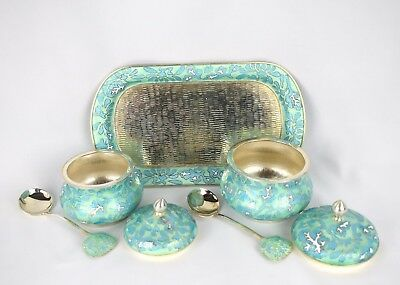 Silver Enamel Cloisonne Korean Condiment Set Salt Sugar Tray Spoon 630 Grams