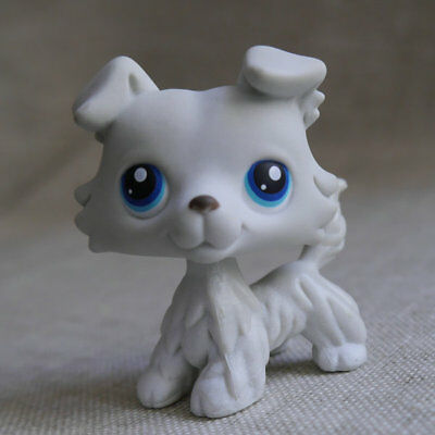 """Grey white LPS COLLECTION LITTLEST PET SHOP #363 Deep Brown Collie dog TOY 2"""""""