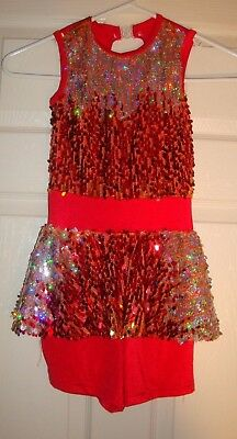 COSTUME/GALLERY~girl's~FANCY/SILVER/RED/SEQUIN/UNITARD! (C/L) REALLY/CUTE! @@