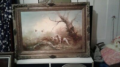 Large Antique  Original Oil On Canvas Dogs Hunting Birds Signed Johnson