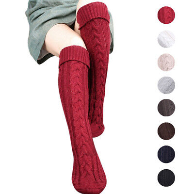 US STOCK Women Winter Cable Knitted Long Boot Socks Over Knee High Stockings