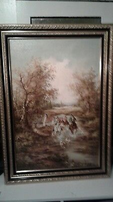 Large Oil On Canvas Hunting Dogs In Countryside
