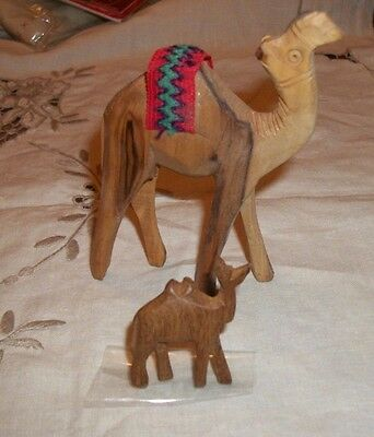 Two Wooden Camel Figurines