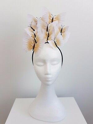 Miss Butterfly womens fashion butterfly headband fascinator in White/ tan /gold