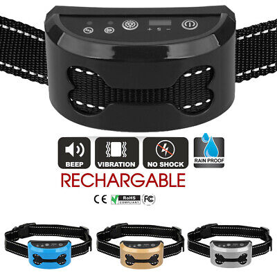 Auto Anti Bark Stop Barking Dog Training Collar Rechargeable Remote -Non Shock