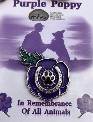 Purple Poppy Lapel Pin *Remembering All War Animals * Remembrance Day 25mm