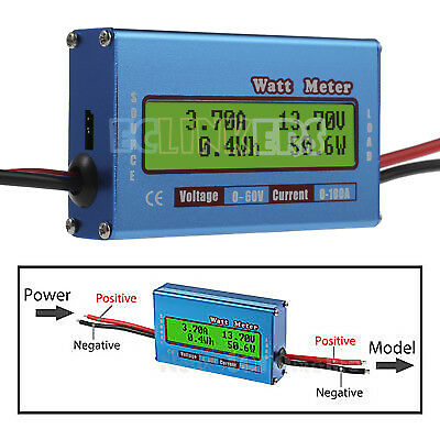 Digital LCD Battery 60V/100A Watt Meter Voltage Amp Monitor RC DC Power Analyzer
