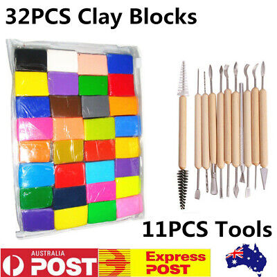 32x DIY Craft Oven Bake Polymer Modelling Clay Blocks+11x Carving Tool Kids Gift